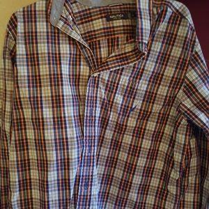 Men's long sleeve dress shirt large by Nautica